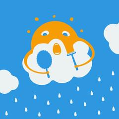 Cartoon about the sun and rain