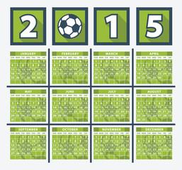 Calendar 2015. Soccer concept.