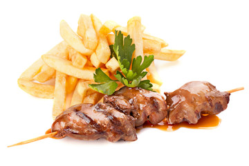 Beef skewers with french fries