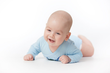 Smiling happy Baby Isolated on White