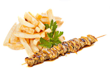 Sea food  skewers with french fries
