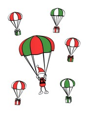 little sketchy man with santa hat - parachute between gift boxes