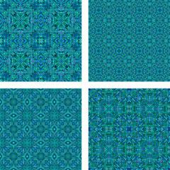 Teal seamless mosaic pattern set