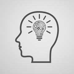 head with lightbulb and gears