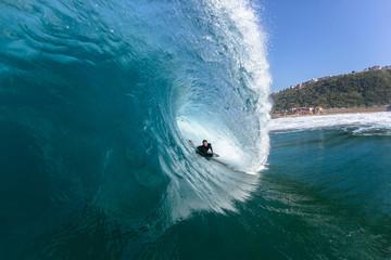 Surfing Rider Inside Blue Ocean Wave
