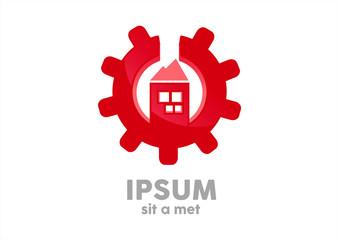 Gear house red logo vector