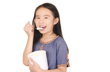 Boy eat milk ice cream