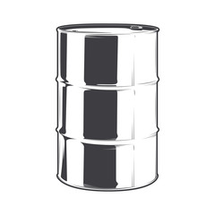 Steel oil barrel isolated on a white background. Line art