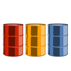Red, yellow and blue steel oil barrels