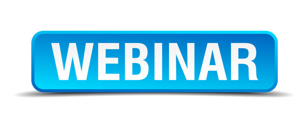 Webinar blue 3d realistic square isolated button