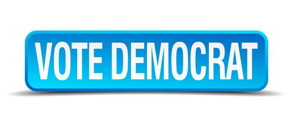 vote democrat blue 3d realistic square isolated button