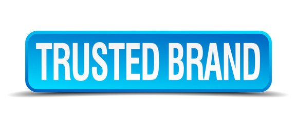 Trusted brand blue 3d realistic square isolated button