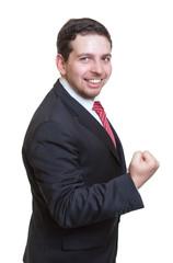 Geschäftsmann im schwarzen Anzug hat Power