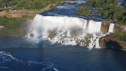 An aerial view of the American Falls on a sunny day, Niagara Fal
