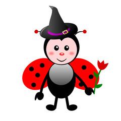 Coccinella con cappello di Halloween