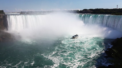 Below Niagara Falls with a tour boat in the spray