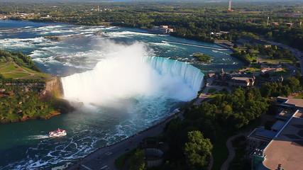 A wide aerial view of the Horseshoe Falls at Niagara Falls