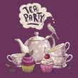 Obrazy na płótnie, fototapety, zdjęcia, fotoobrazy drukowane : Tea party invitation card with a Cupcake and Pot