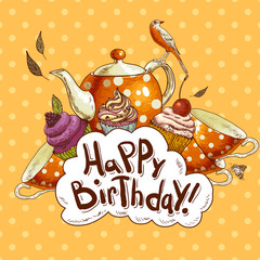 Happy Birthday card with a Cupcake and Pot