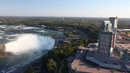 An aerial view of the Horseshoe Falls and Casino, Niagara Falls