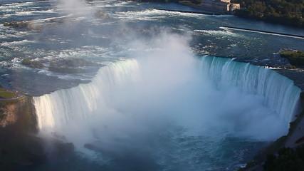 A tight aerial view of the Horseshoe Falls at Niagara Falls