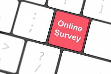 On line survey key on keyboard