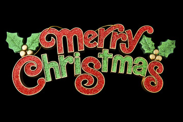 Merry Christmas Sign Isolated on Black Background