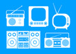 White audio and TV icons on blue background