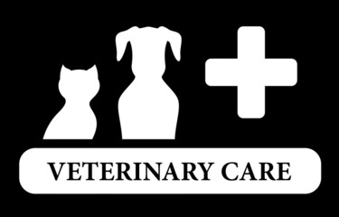 veterinary care icon with animal silhouette