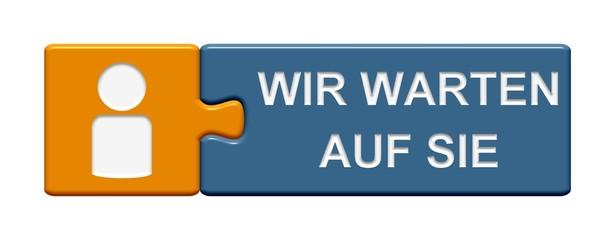 Puzzle-Button orange blau: Wir warten auf Sie