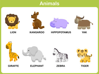 Cute vector Set of Animal for kids : Flat design