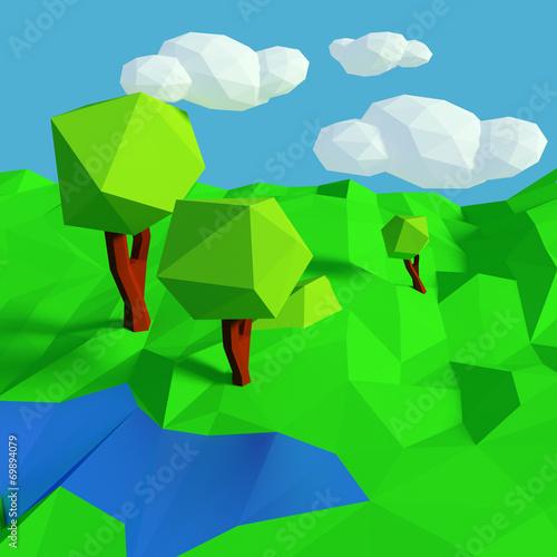 canvas print picture Kleine Landschaft mit simplen Muster