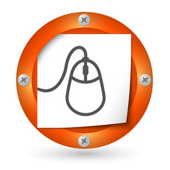 orange abstract icon with paper and mouse icon