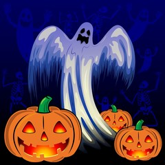 Ghosts Skeletons and Pumpkins