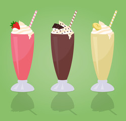Milkshakes with Cream in Glass - Strawberry - Chocolate - Banana