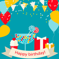 Happy Birthday card with sweets, gifts and balloons, vector illu
