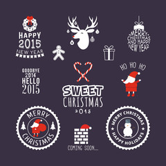 Christmas decoration set of design elements