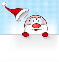 santa claus cartoon with banner