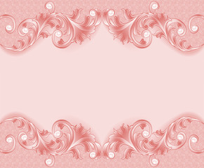 of a pink background with ornament and pearls