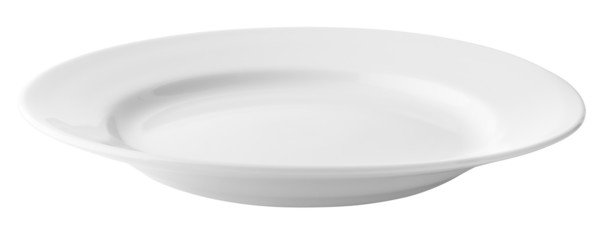 White empty plate isolated with clipping path included
