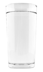 Tall full glass of water isolated on white background with clipp