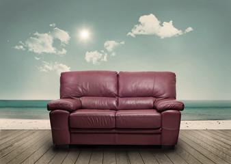 A sofa on the beach