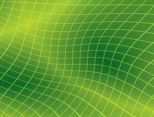 bright green background with distorted grid - vector