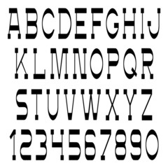 Vector set of slim black font and numbers