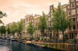 canvas print picture - boats and bikes in amsterdam