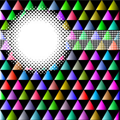 background with colored triangles and circles for text