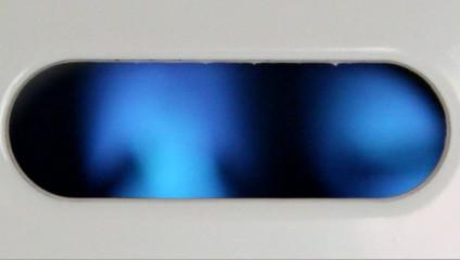 look inside boiler at starting blue flame