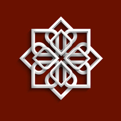 White 3d ornament in arabic style - variation 5