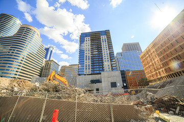 Skyscrapers under construction in Minneapolis, Minnesota, USA