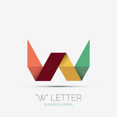 W letter company logo, minimal design